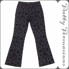 """Black Floral Velvet Boho Hippie Flare Jeans Black Floral Velvet Hippie Flare Jeans   MSRP $98.00 Brand: Wish Labeled Size: 6   Measurements taken in inches:  Waist: 30""""  Hips: 35""""  Inseam: 33""""  Rise: 9""""  Leg Opening: 10 and 1/4"""" measured laying flat and straight across (all around 20.5"""")   Features  • black floral velvet deigns  • black denim  • comfortable w/stretch  Cotton/Spandex   note: overall excellent condition, only 1 flaw to note ~ small spot on leg, hardly noticeable. see last…"""