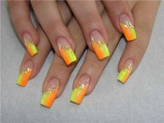 Orange French nail design :: one1lady.com :: #nail #nails #nailart #manicure