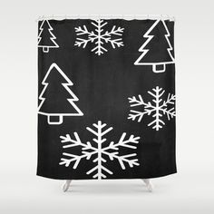 Items similar to Black Christmas Shower Curtain - 71 in x 74 in Gift Cute Kids Children Apartment Bath Bathroom Nursery Decor Accent Original Art on Etsy