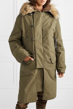 Olive cotton, tonal-brown faux fur Buttons, snap and concealed zip fastening along front cotton; Personal Shopping, Fur Trim, Army Green, Parka, Faux Fur, Raincoat, Sweatshirts, Sleeves, Cotton