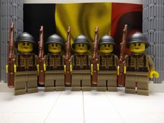 5x LEGO Belgian Infantry Sergeants  1940 with Adrian Helmets & MAS-36's #LEGO