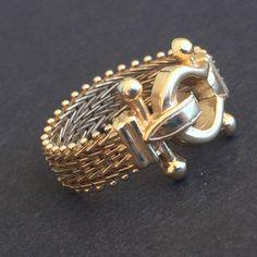 $430, Sz 7, Mesh Buckle Ring - 14k Yellow Gold Estate Flexible Band by EstateJewelryMama on Etsy https://www.etsy.com/listing/466089757/mesh-buckle-ring-14k-yellow-gold-estate