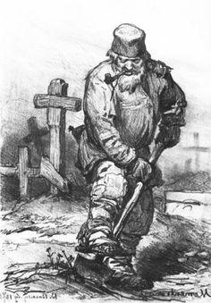 Grave Digger 1871 pencil - Viktor Vasnetsov Tretyakov Gallery Moscow Russia