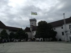 The castle at Ljubljana - with cafés and open air cinema in the summer it's more like a town square.