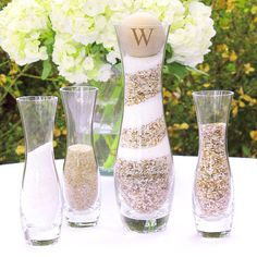 Rustic Personalized Glass Wedding Sand Ceremony Set by pbpaperie