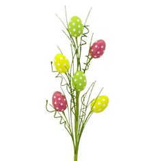 """Polka Dot Easter Egg Spray Size: 29"""" length Material: Plastic, Wire Color: Dark Pink, Yellow, Green, White Polka dot Easter egg spray with assorted egg and greenery.  Arriving soon!"""