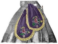 """1860s Civil war type of """"Miser"""" bag, purse. Click through to read how to make it + more information. (and about a lot of other interesting Victoriana by the way :) )"""