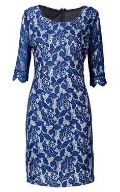Vestido entallado de encaje-Azul 0.00