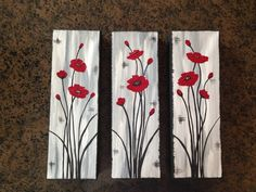 Abstract poppies poppy painting red by Creationsbyconni on Etsy - Painting - Easy Flower Painting, Abstract Tree Painting, Pallet Painting, Pallet Art, Acrylic Painting Canvas, Abstract Flowers, Abstract Canvas, Small Canvas Art, Diy Canvas Art