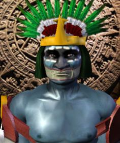 Huitzilopochtli has been described as a blue skinned human with feathers seeming as he is dressed as a bird. He is known as the Aztec deity of the sun. This Meso american deity of war wore an eagle's beak on his head. The Aztec people believed he came to earth in the form of an eagle to watch over them. Aztec Warrior, Deities, Eagles, Feathers, Weaving, Earth, Statue, Sun, Bird