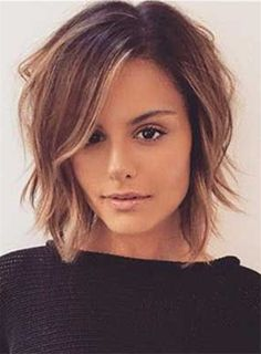 Short Natural Wavy Layered Side Swept Fringes Lace Front Human Hair Wigs 10 Inches