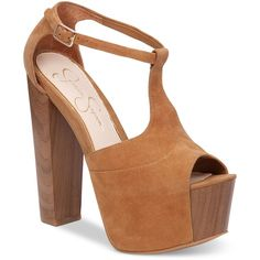 Jessica Simpson Dany T-Strap Platform Pumps ($77) ❤ liked on Polyvore featuring shoes, pumps, honey brown lux kid suede, brown platform shoes, brown shoes, platform pumps, t bar shoes and chunky platform shoes