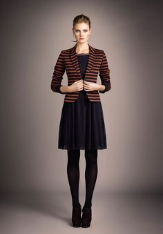 ouí collection. love the striped blazer, and that dress is amazing, it even has polka dots on top!