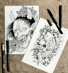 Two of my favourite pieces I made for my favourite person . . . . . . . . . #japaneseart #onimask #koi #brushmarker #tattoodesign #traditionalart #blackandwhite #drawing #illustration Favorite Person, My Favorite Things, Oni Mask, Brush Markers, Japanese Art, Traditional Art, Koi, Tattoo Designs, Paper