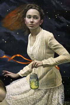 "Andrea Kowch - ""Light Keepers"" (Detail), 60""x72"", acrylic on canvas"