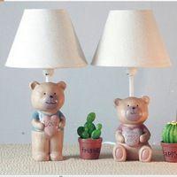Прекрасный 1 шт. медведь смолаы ткань-основу абажур ребенка / детей / дети украшение стола лампы настольные лампы спальня рядом освещение
