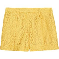 Boutique Moschino High-rise pleated lace shorts (12,110 PHP) ❤ liked on Polyvore featuring shorts, bottoms, pants, yellow, bright yellow, lace shorts, high-waisted shorts, high rise shorts, highwaist shorts и yellow shorts
