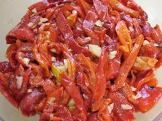 Marinated Roasted Bell Peppers.  Fantastic with a salad course.  We have them every Christmas without fail.  Must love garlic!