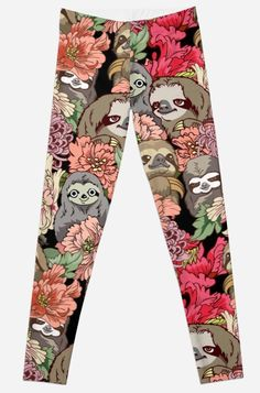'Because Sloths' Leggings by Huebucket Cute Baby Sloths, Cute Sloth, Baby Otters, Baby Animals, Cute Animals, Baby Giraffes, Wild Animals, Alpacas, My Spirit Animal