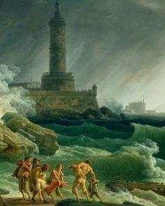 A Storm in a Mediterranean Coast. Claude-Joseph Vernet. 1714-1789. #art #painting  #storm #mediterranean