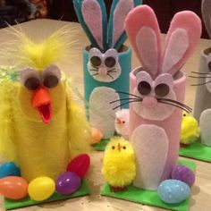 DIY Easter candy holders made from felt.... Has so much fun making w my daughter!!