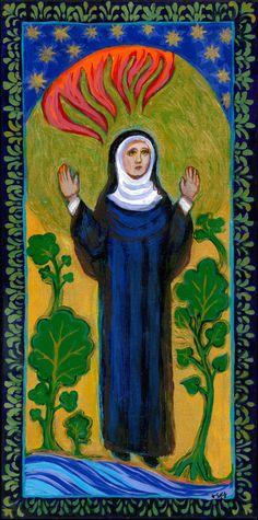 Catholic Art - St Hildegard von Bingen - Composer - Botanist - Mystic - Fine Art Print in Three Sizes