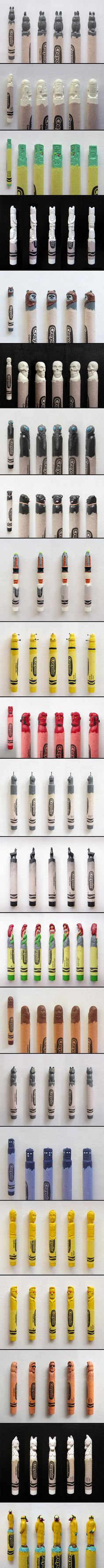 California artist Hoang Tran creates amazingly intricate crayon sculptures of characters from popular fiction like Game of Thrones, Star Wars, Miyazaki movies, Doctor Who, Adventure Time, and more.