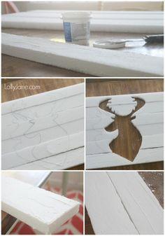 Trace a deer head onto foam slats, then paint for pallet art! #diy #fauxpalletart