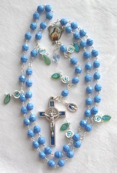 opaque blue beads, blue enamel crucifix, blue heart accent, blue roses with green glass leaves, full colour Ste. Rosary Prayer, Rosary Catholic, Prayer Beads, Faith Prayer, Afghan Loom, Rosary Beads, Blue Roses, Religious Jewelry, Golden Girls