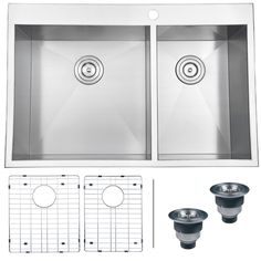Undermount Stainless Steel Double Bowl Low Divide Kitchen Sink by ...