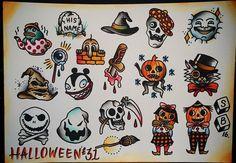 £31 Halloween tattoos at TLC Tattoo & Piercing! Traditional flash sheet by Simon! ⚰️
