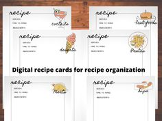 Digital recipe cards printable digital planner page by Fdigitalstudio on Etsy Printable Recipe Cards, Printable Quotes, Make Time, How To Make, Recipe Organization, Perfection Quotes, Planner Pages, Sticker Shop, Handmade Items