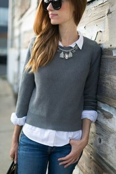 It's time to start thinking about your fall fashion. Here is a great gray sweater with button up and jeans. Love this outfit!