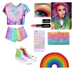 """""""Rainbow tag"""" by potato-swan77 ❤ liked on Polyvore featuring Converse, NYX, Charlotte Olympia, Casetify and Tattly"""