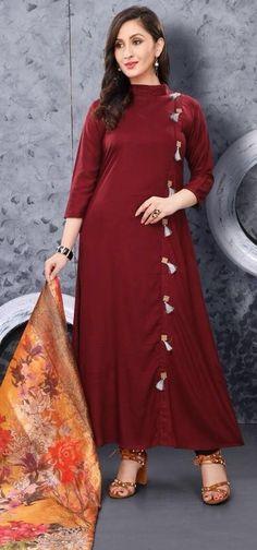 #brown #colourfull #kurti | brown colourful long kurti | viscose rayon fabric | digital Silk dupatta | full sleves | occasional wear | Silk Kurti Designs, Salwar Designs, Blouse Designs, Plain Kurti Designs, Indian Designer Outfits, Designer Dresses, Long Kurti Patterns, Indian Dresses, Indian Outfits