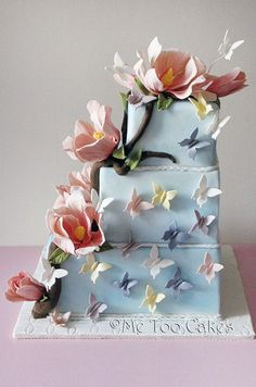 blue wedding cake idea; via Me Too Cakes
