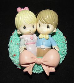Precious Moments Christmas Ornament ~ Boy & Girl in Wreath Home for the Holidays