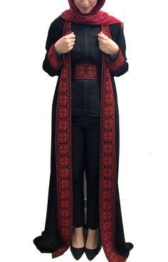 Black embroidered abaya/maxi jacket with stylish red embroidery Abaya Fashion, Muslim Fashion, Modest Fashion, Fashion Outfits, Womens Fashion, Street Hijab Fashion, Fall Fashion, Fashion Trends, Afghan Clothes