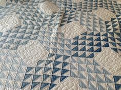 ocean wave quilt | my mother finished this ocean wave quilt from blue fabric cut into ...