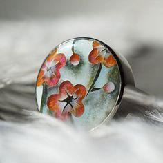 Cherry blossom ring Sakura flower adjustable ring Flower boho