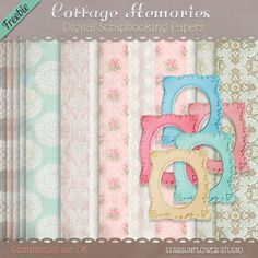 Free Cottage Memories Digiscrap Kit with Photo Frames, Photo Corners, Backgounds & Tags - StarSunflower Studio
