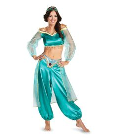 Even grown-up gals like to take a twirl or two in a pretty princess outfit from time to time. Styled to look just like Aladdin's one true love, this sassy dress-up set features a fringed top, flowing pants and matching headpiece.