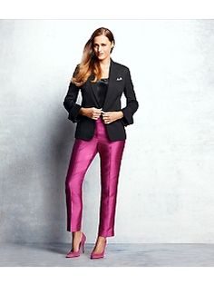 Love the pink satin pants for holiday parties.