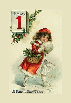 Vintage Happy New Year Card Postcard Vintage Happy New Year, Happy New Year Cards, Happy New Year Greetings, New Year Greeting Cards, Vintage Greeting Cards, Vintage Christmas Cards, Vintage Holiday, Christmas Pictures, Christmas Art