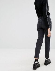 ASOS PETITE FARLEIGH High Waist Slim Mom Jeans In Washed Black - Black Denim  Fashion 1592cc1861391