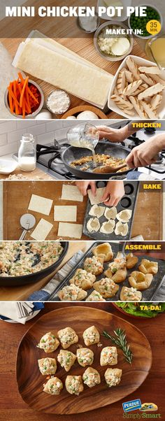 Chicken Pot Pie Bites! Perfect for turkey leftovers! Or use PERDUE® Oven Ready Whole Seasoned Roaster. They're ready for the table whenever you are.