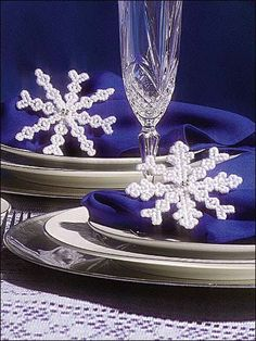 Beaded Snowflakes Napkin Rings Free Pattern Download