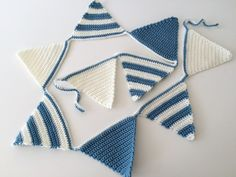 Blue Bunting, Boys Crochet Bunting, Blue Party Garland, Striped Crochet Garland…