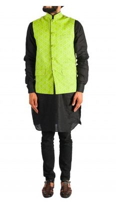 Black Kurta Set with Green Nehru Jacket, perfect for evening wedding functions. Shop now. Nehru Jacket For Men, Nehru Jackets, Wedding Store, Wedding Function, Shop Now, Menswear, Indian, Green, Sweaters
