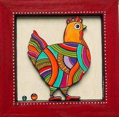 """Tableau en bois peint de """"Biscotte"""" la petite poule"""